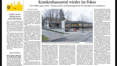 """""""Was passiert eigentlich mit dem Wilhelmstift?"""" – Die Freien Wähler Isny e.V. rücken das ehmalige Krankenhausareal in den Fokus (SZ, 11.4.2019)"""